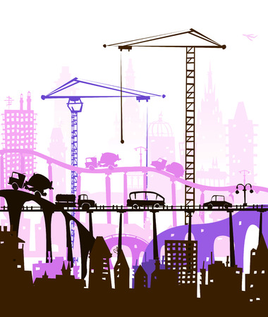 carriageway: Industrial site view with cranes. Heavy industry concept
