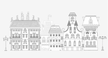 town houses: Doodle of beautiful city with very detailed and ornate town houses, trees and lanterns. City background