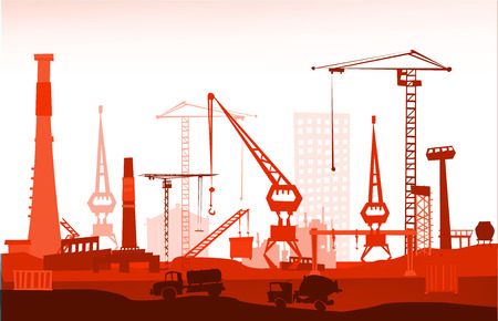 abandoned warehouse: Industrial site view with cranes. Heavy industry concept