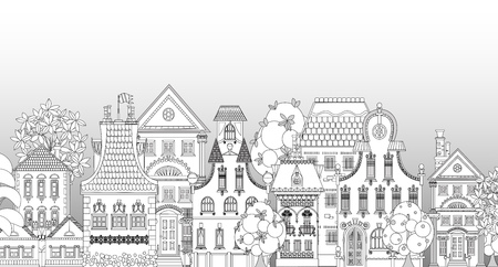 shops street: Doodle of beautiful city with very detailed and ornate town houses, trees and lanterns. City background