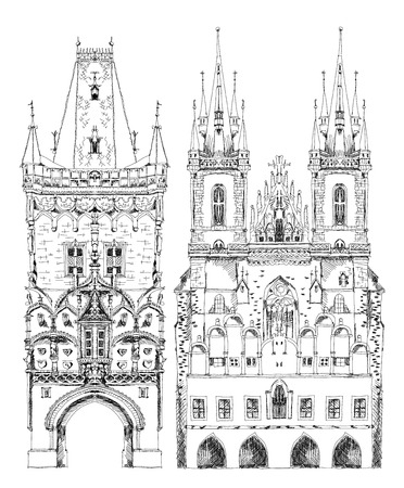 praha: Prague cathedral and town tower,  sketch collection Illustration