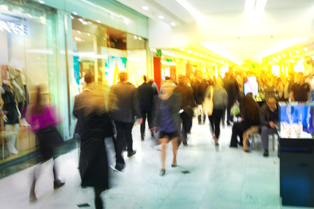 business life: Business people blur. People walking in rush hour. Business and modern life concept
