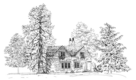 english oak: Old english stone cottage in the forest, sketch collection