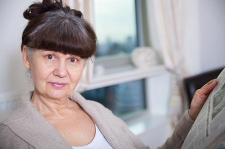 good looking woman: Pension age good looking woman portrait in domestic environment