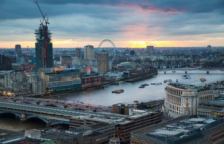 night dusk: LONDON, UK - JANUARY 27, 2015: panoramic view City of London at night