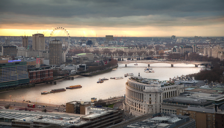 panoramic view: LONDON, UK - JANUARY 27, 2015: panoramic view City of London at sunset
