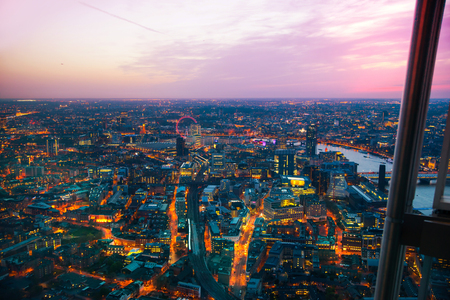 LONDON, UK - JANUARY 27, 2015: panoramic view City of London at sunset
