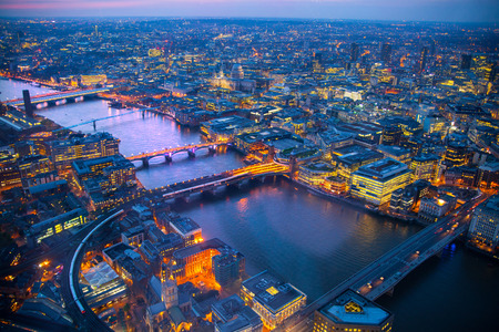city of london: LONDON, UK - JANUARY 27, 2015:  London aerial view at dusk