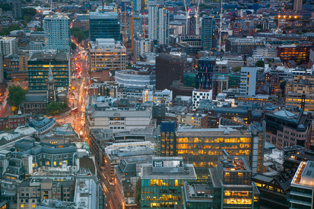 includes: London at sunset, aerial view includes famous buildings, streets