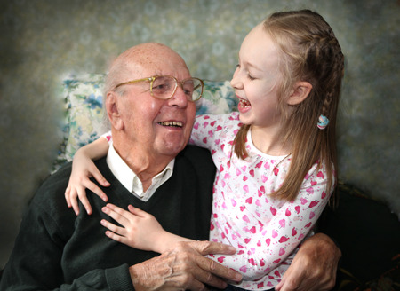 old english: 95 years old english man with granddaughter