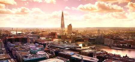 City of London Shard and river Thames at sunset Stock Photo