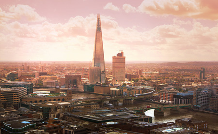 includes: London at sunset, aerial view includes famous buildings