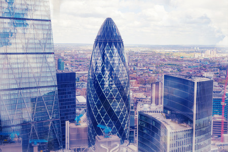 city landscape: London aerial view and office buildings Stock Photo