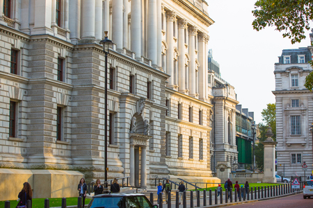 treasury: LONDON, UK - OCTOBER 4, 2016: Her Majestys Treasury building