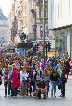 regent: LONDON, UK - OCTOBER 4, 2016:  Regent street view with transport and walking people Editorial