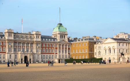 solider: LONDON, UK - OCTOBER 4, 2016: Whitehall, Royal Horse Guard Palace