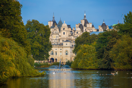 royal park: LONDON, UK - OCTOBER 4, 2016: Sant James park, lake and  distant view of Her Majestys Treasury building