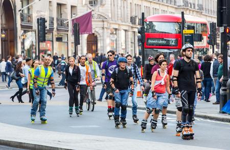 skaters: LONDON, UK - OCTOBER 4, 2016: Londons roller skaters at the Regent street Editorial