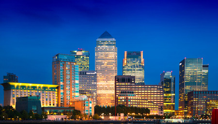 wharf: Canary Wharf business and banking district night lights Editorial