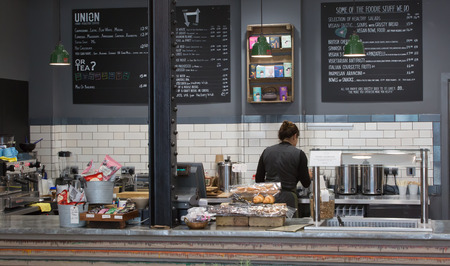 LONDON, UK - SEPTEMBER 19, 2015: Coffee shop interior