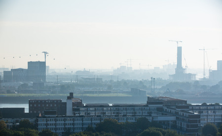 constructing: London early morning view with building constructing sites and cranes Stock Photo