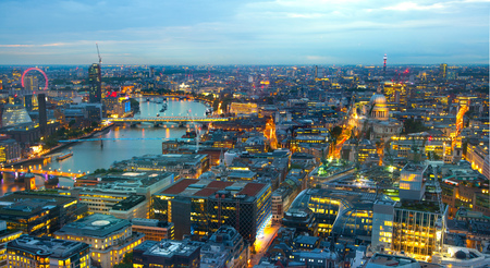 thames: London at sunset. River Thames, bridges and night lights City of London Stock Photo