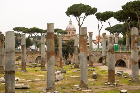 metres: ROME, ITALY - APRIL 8, 2016: Emperor Trajan Forum 106–112 AD, measuring 300 metres (980 feet) long and 185 metres (607 feet) wide Editorial