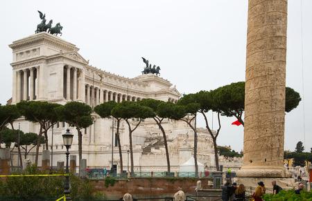 italian politics: ROME, ITALY - APRIL 8, 2016:  Altar of the Fatherland (Altare della Patria) 1925. Piazza Venezia . Vittorio Emanuele II in Rome, Italy Editorial