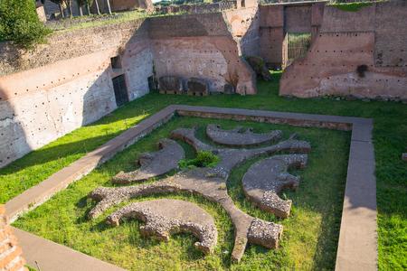 palatine: ROME,  Palantine Hill. The ruins of the Domus Augustana on Palatine Hill.