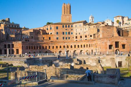 long feet: ROME, ITALY - APRIL 8, 2016: Emperor Trajan Forum 106 - 112 AD, measuring 300 metres (980 feet) long and 185 metres (607 feet) wide
