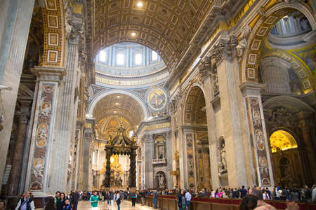 peter: ROME, ITALY - APRIL 8, 2016:   Interior of the Papal Basilica of St. Peter in the Vatican
