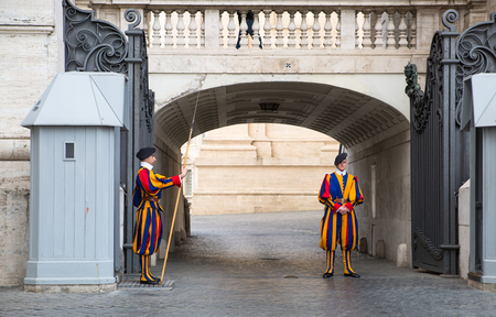 swiss culture: ROME, ITALY - APRIL 8, 2016: Papal Swiss Guard in uniform.