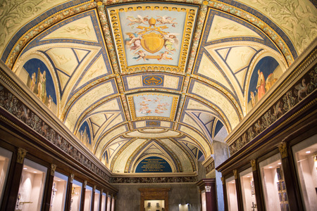 Ancient frescoes of Vatican hall, museums buildings where locates library, archives.