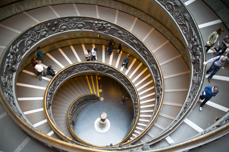 vatican city: ROME, ITALY - APRIL 8, 2016: Spiral stairs of the Vatican Museums in Vatican city