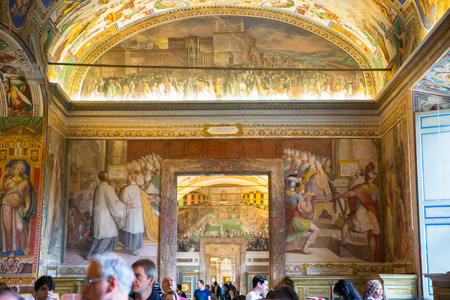 italian fresco: ROME, ITALY - APRIL 8, 2016:  Interior of Vatican hall, museums buildings where locates library, archives.