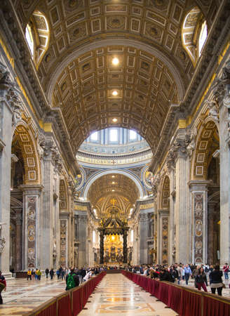 basilica: ROME, ITALY - APRIL 8, 2016:   Interior of the Papal Basilica of St. Peter in the Vatican