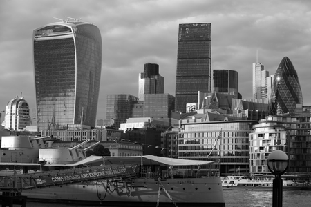 international banking: London, UK - SEPTEMBER 19, 2016: City of London view from the river Thames. International business and banking aria. View include Walkie-Talkie, Gherkin and Heron office buildings