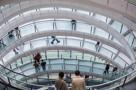 mayor: LONDON, UK - SEPTEMBER 19, 2015: People at the spiral stairs in Mayor of London