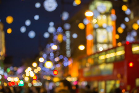 oxford street: Christmas decorations of department store at Oxford street, blurred background Stock Photo