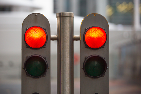 red traffic light: Traffic lights showing the Red