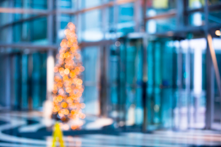 blur: Abstract background with Christmas tree, neon lights blur. Stock Photo