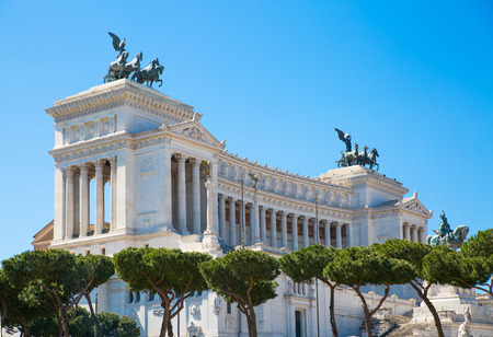 italian politics: ROME, ITALY - APRIL 9, 2016: Altar of the Fatherland (Altare della Patria) 1925. Piazza Venezia . Vittorio Emanuele II in Rome, Italy