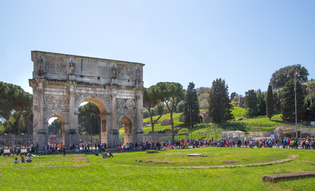 constantine: ROME, ITALY - APRIL 8, 2016: Arch of Constantine, ancient construction of emperor victory over Maxentius in 312AD, Locates next to Coliseum