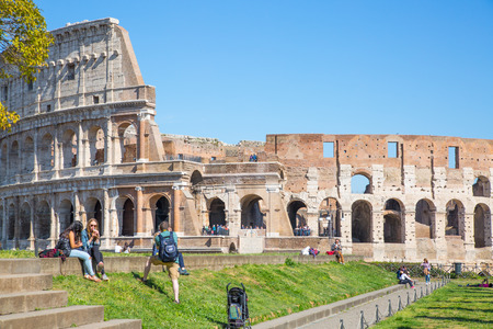 emporium: ROME, ITALY - APRIL 8, 2016: Ruins of Coliseum, panoramic view