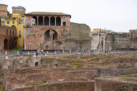 metres: ROME, ITALY - APRIL 8, 2016: Emperor Trajan Forum 106 - 112 AD AD, measuring 300 metres (980 feet) long and 185 metres (607 feet) wide