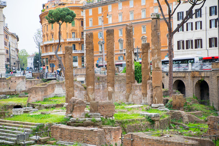 hosts: ROME, ITALY - APRIL 8, 2016: Largo di Torre Argentina square, hosts four Republican Roman temples, and the remains of Pompeys Theatre 80 BC