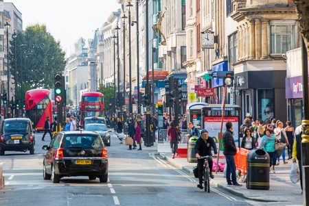 oxford street: LONDON, UK - OCTOBER 4, 2015: New Oxford street with lots of people