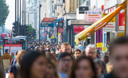 lots people: LONDON, UK - OCTOBER 4, 2015: New Oxford street with lots of people