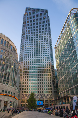 London UK- May 21, 2015: Office buildings of Canary Wharf, international business and banking aria. View from the dock Editorial
