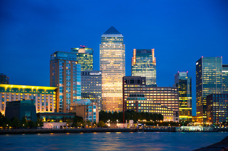 Canary Wharf night view Stock Photo